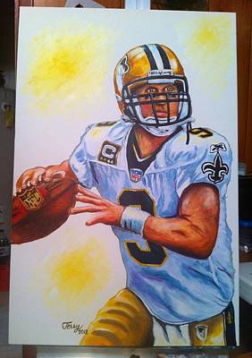 Painting - Drew Brees by Terry J Marks Sr
