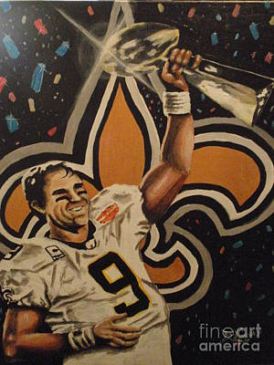 Drew Brees Painting - Drew Brees With The Lombardi Trophy by Billy Cousins