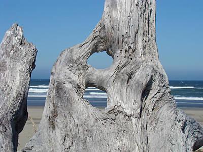 Driftwood Art Prints Coastal Blue Sky Ocean Waves Shoreline Art Print by Baslee Troutman