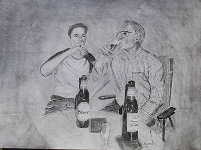 Drawing - Drinking Buddies by Brian Hustead