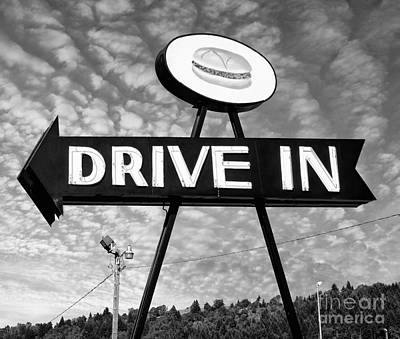 1940-1980 Retro-styled Imagery Photograph - Drive In Neon Sign by Frank Short