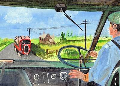 Art Print featuring the painting Driving   Yesteryear by Audrey Pollitt