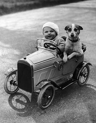 Driving Dog Art Print by Norman Smith