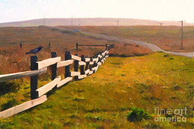 Driving Down The Lonely Highway . Study 1 . Painterly Art Print by Wingsdomain Art and Photography