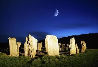Megalith Photograph - Drombeg, County Cork, Ireland Moon Over by Richard Cummins