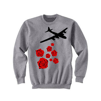 Josephboyd Tapestry - Textile - Drop Bouquets Not Bombs Custom Painted Crewneck Sweatshirt by Joseph Boyd