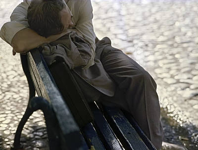 Photograph - Drunken Man Sleeping On A Blue Bench by Juan Carlos Ferro Duque