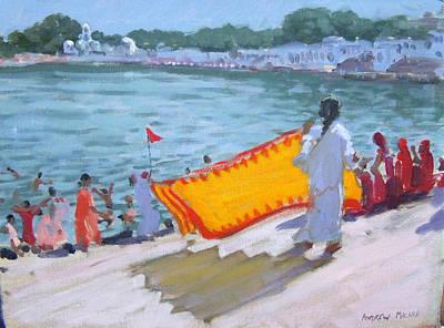South Asia Painting - Drying Sari Pushkar  by Andrew Macara