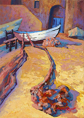 Fishing Painting - Drying The Nets by Marion Rose