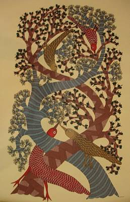 Gond Painting - Ds 252 by Dilip Shyam