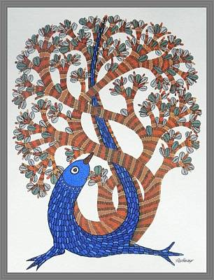 Gond Tribal Art Painting - Ds 311 by Dilip Shyam