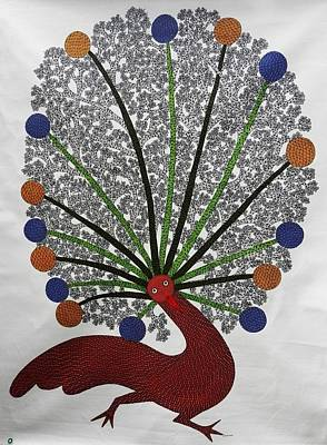 Gond Painting - Ds 436 Peacock by Dilip Shyam