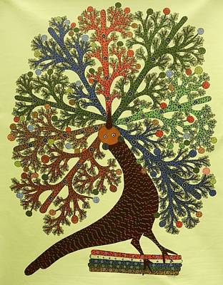 Gond Painting - Ds 439  Peacock by Dilip Shyam