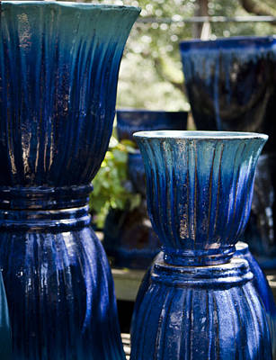 Dual Blue Fluted Pots Print by Teresa Mucha
