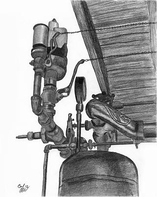 Boiler Drawing - Dual Steam Whistles by Carl Muller