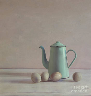 Duck Eggs And Coffee Pot Art Print by Paul Grand