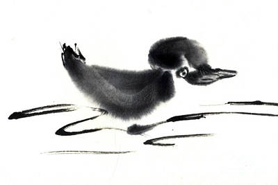 State-of-no-mind Painting - Duckling by Ellen Miffitt