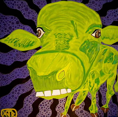 Dumb And Dumber Painting - Dumb Green Cow by Nick Reaves