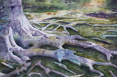 Art Print featuring the painting Dunbar Cave Roots  by Patsy Sharpe
