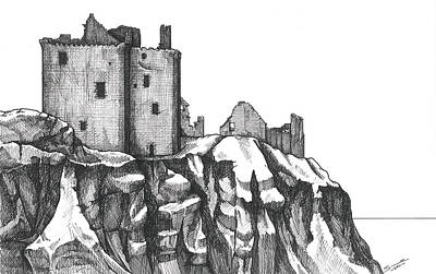 Drawing - Dunottar Castle  by Sue Pownall