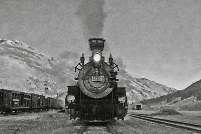 Boiler Digital Art - Durango Silverton Bw Painterly 3 by Ernie Echols