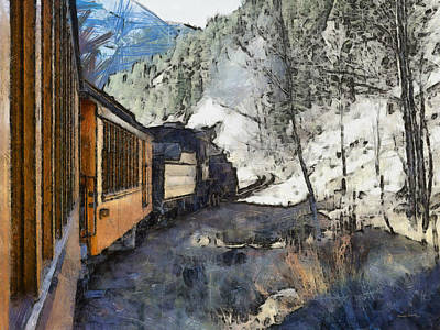 Old Town Digital Art - Durango Silverton Painterly by Ernie Echols