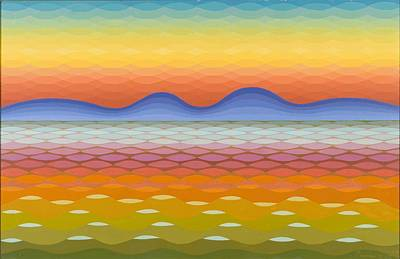 Op Art Painting - Dusk At Lake Balaton by Emil Parrag