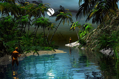Digital Art - Dusk At The Blue Lagoon by Claude McCoy