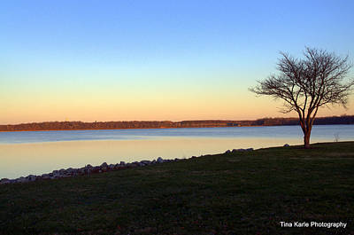 Dusk At The Lake Art Print by Tina Karle