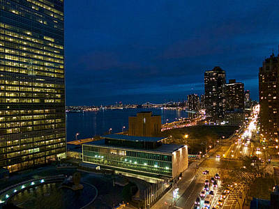 Photograph - Dusk At The United Nations by Cornelis Verwaal