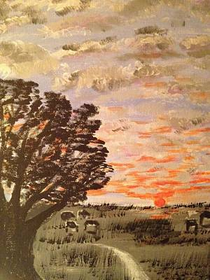 Art Print featuring the painting Dusk by Brindha Naveen