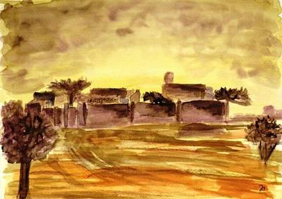 Dusk In An African Village Art Print