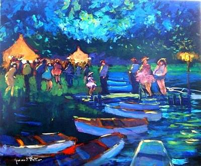 Foulard Painting - Dusk On The Boats by Valtier