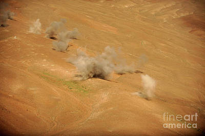 Dust Rises From The Impact Points Of Kp Art Print by Stocktrek Images
