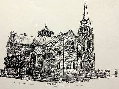 Sand Fences Drawing - Dutch Reformed Church by Cecilia Putter