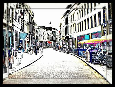 Dutch Shopping Street- Digital Art Art Print by Carol Groenen