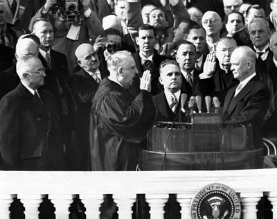Swearing In Photograph - Dwight Eisenhowers First Inauguration by Everett