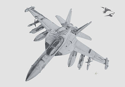 Bomber Drawing - Ea-18g Growler by Nicholas Linehan