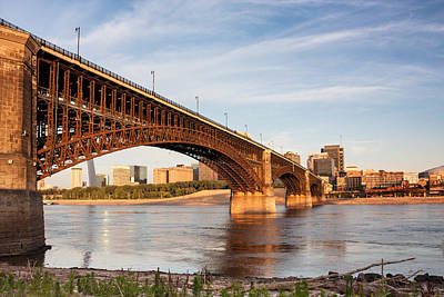 Photograph - Eads Bridge Railroad Spanning Mississippi River At St Louis by Semmick Photo