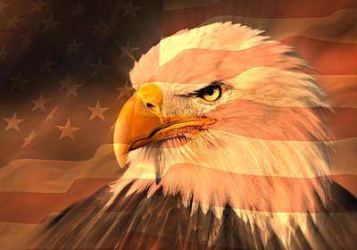 Eagle On Flag Art Print by Marty Koch