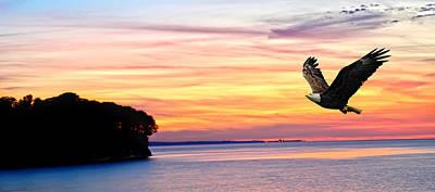 Art Print featuring the photograph Eagle Sunrise by Randall Branham