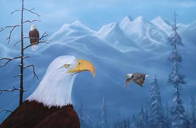 Painting - Eagles In The Tetons by Gary Partin