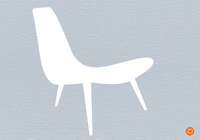 Eames Digital Art - Eames White Chair by Naxart Studio