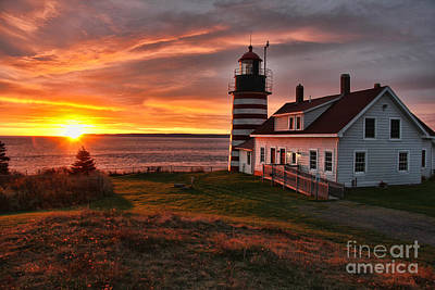 West Quoddy Head Lighthouse Photograph - Earliest Sunrise In The United States 3746 by Jack Schultz