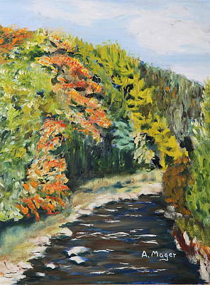 Babbling Brook Painting - Early Autumn by Alan Mager