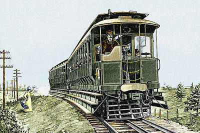 Early Electric Train Art Print by Sheila Terry