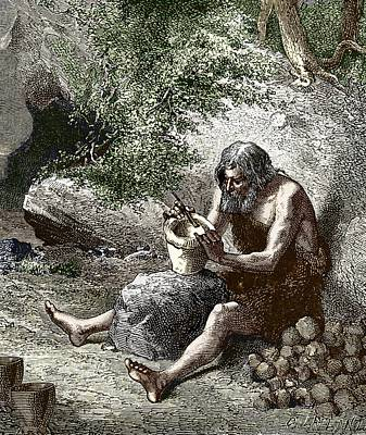 Early Human Making Pottery Art Print by Sheila Terry