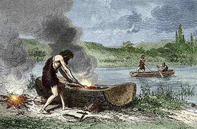 Early Humans Building And Using Boats Art Print