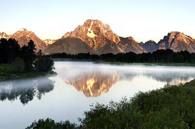 Early Morning Fog Oxbow Bend Art Print by Paul Cannon