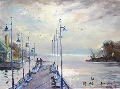 Deck Painting - Early Morning In Lake Shore by Ylli Haruni